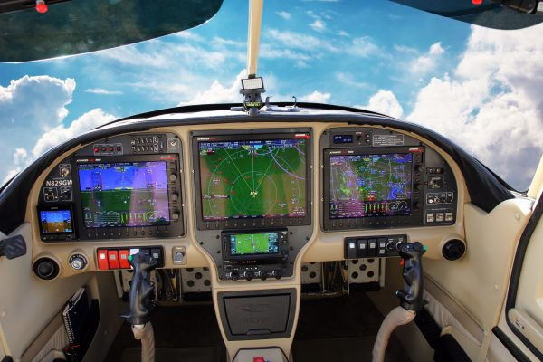 cockpit with clouds